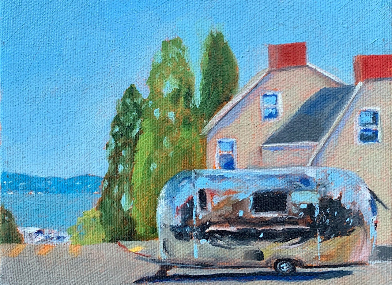 Pacific Heights Airstream, 6x6, oil on canvas, framed $300