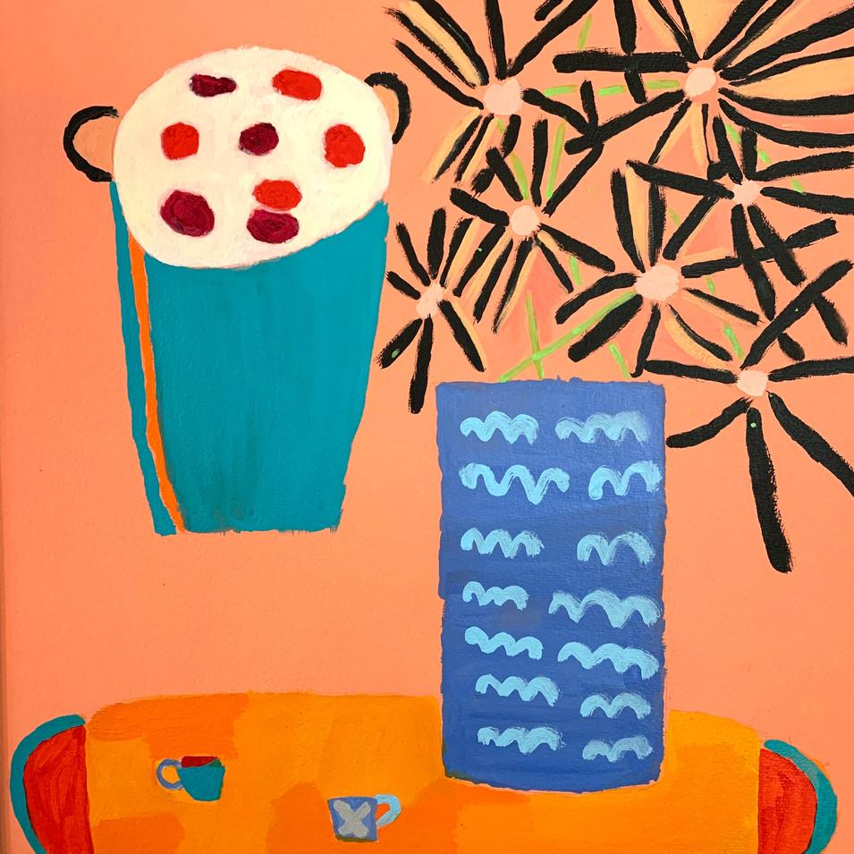 Corona Coffee Break, 20x24, acrylic, framed, $600