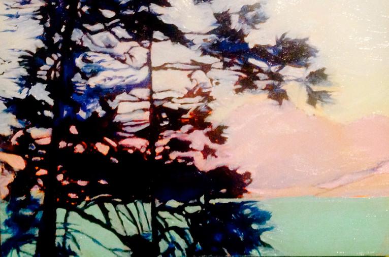 Tahoe Sunrise, 8x8, oil on wood, $ 300