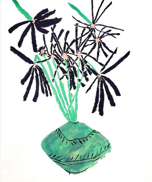 Black Daisies in Green Vase, 16x20, acrylic on cold press paper $ 250