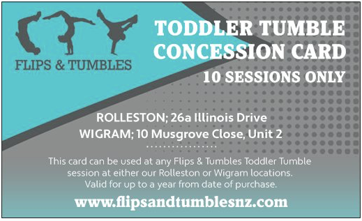 Toddler Tumble Concession Card