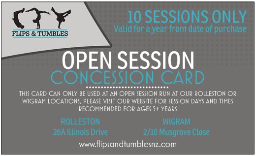 Open Session Concession Card