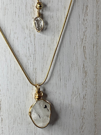 Phenacite pendant top with Herkimer