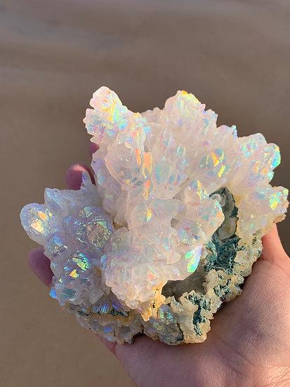 Opal Aura on flower Amethyst Cluster