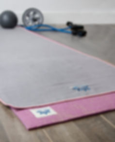 Fitness, yoga mat and towel