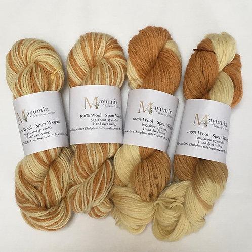 milk Chai mix Mushroom dyed sport weight 100% wool yarn