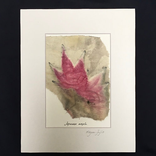 Botanical print on Japanese paper, mat and backing included