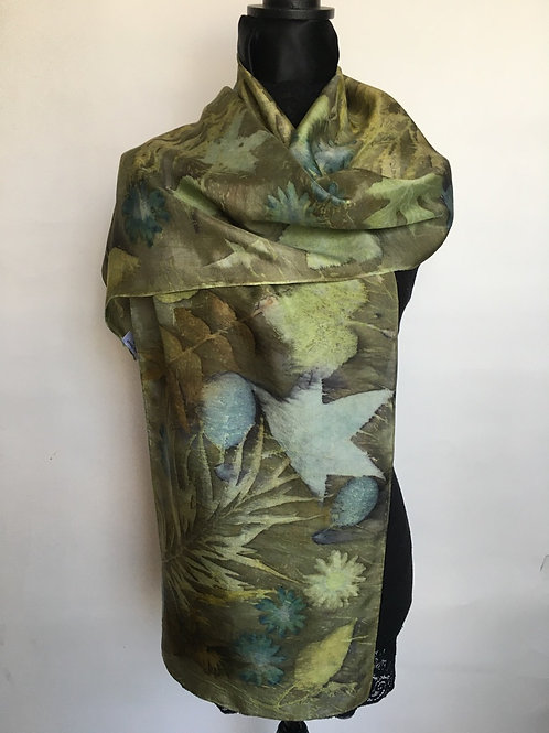 Silk Scarf H14-168 Green Indigo