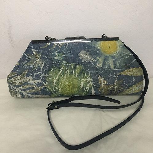 Eco Printed leather clutch bag - Dark Blue