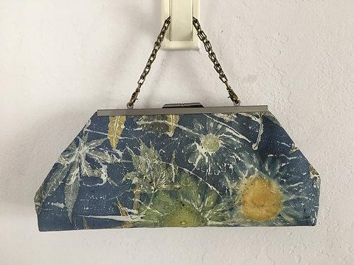 Eco Printed leather clutch bag - Dark Blue 1