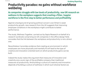 WORKTECH Academy - Productivity paradox: no gains without workforce wellbeing