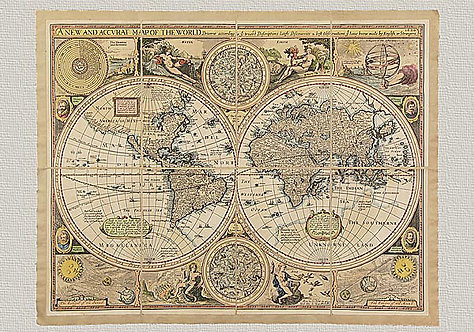 "Planisfero ""A New and Accurat Map of the World"" di G. Humble (1626)"