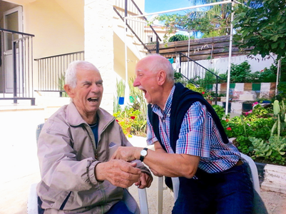 Laughing with 96yr old Spiros!