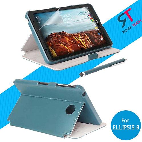 Verizon Ellipsis 8 Rome Tech OEM Folio Case Screen Protector Stylus Bundle Blue
