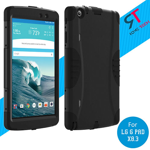 LG G Pad X8.3 Rome Tech OEM Rugged Case Cover With Screen Protector - Black