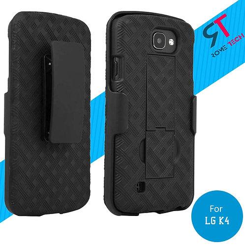 LG K4 Rome Tech OEM Shell Holster Combo Case - Black