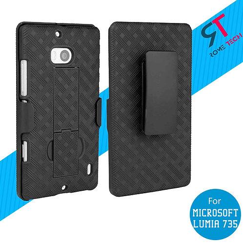 Microsoft Lumia 735 Rome Tech OEM Shell Holster Combo Case - Black