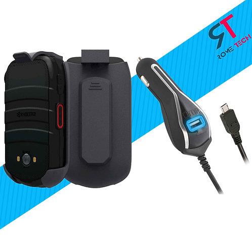 Verizon Kyocera DuraXV LTE Holster Clip Case & RomeTech Car Charger