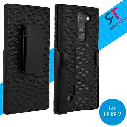 LG K8 V Rome Tech OEM Shell Holster Combo Case - Black