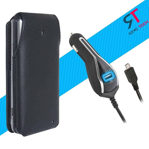 Verizon LG Exalt LTE Fitted Leather Case Holster & RomeTech Car Charger