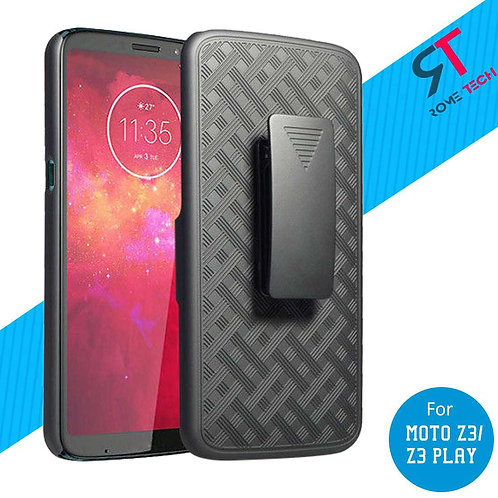 Motorola Moto Z3 / Z3 Play Rome Tech OEM Shell Holster Combo Case - Black