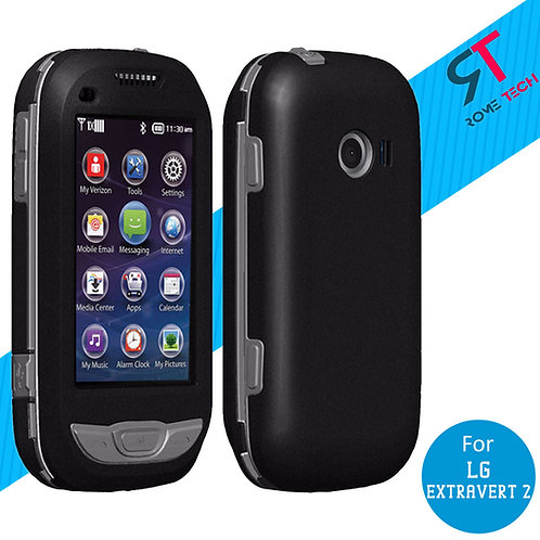 LG Extravert 2 Rome Tech OEM Rugged Snap-On Case Cover - Black / Grey