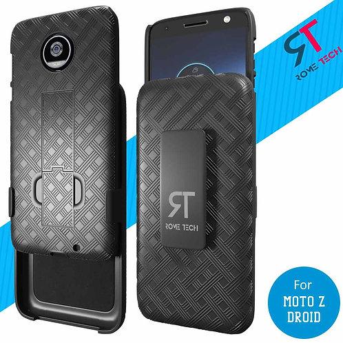 Motorola Moto Z Droid Rome Tech OEM Shell Holster Combo Case - Black
