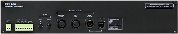 Amperes Emergency Paging Panel Rear view- EP1200