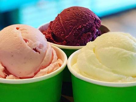 Strawberry, Red Velvet and Vanilla  ice