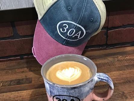 Latte, 30A Mug and a 30A Hat