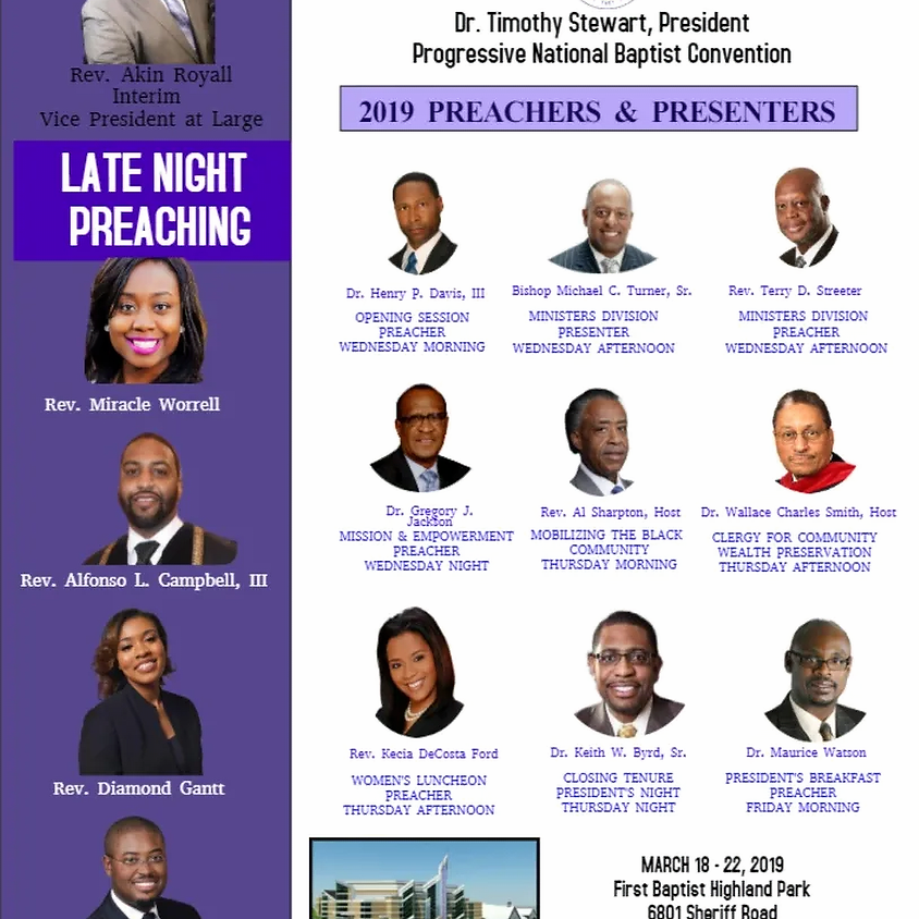 PNBC EASTERN REGION ANNUAL SESSION Transportation leaves the church at 6:30 pm.