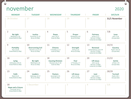 PBC Prayer Line Monthly Calendar