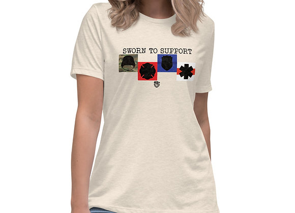 Women's Sworn to Support Badges Relaxed T-Shirt