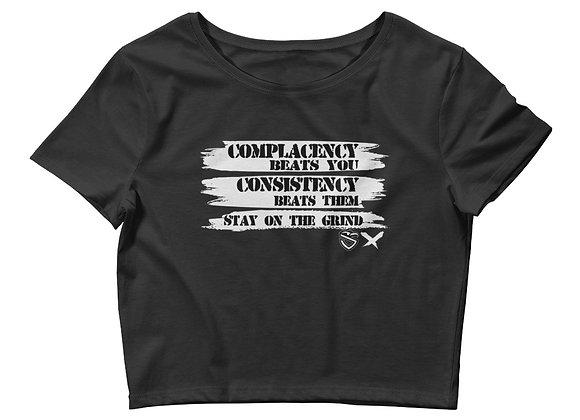 Women's Complacency vs Consistency Crop Tee