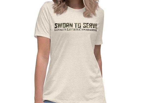 Women's Camo Sworn to Serve Relaxed T-Shirt