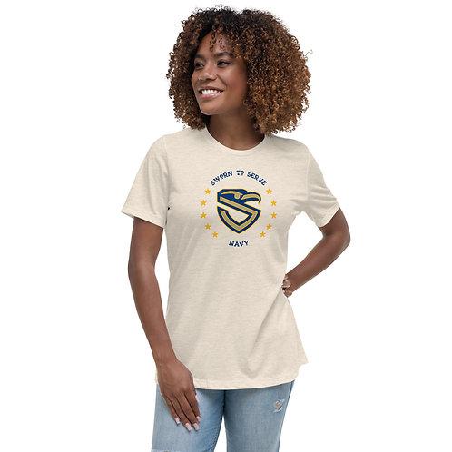 Women's Navy Shield Relaxed T-Shirt