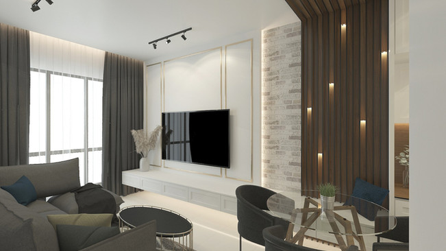 Living room design with TV console