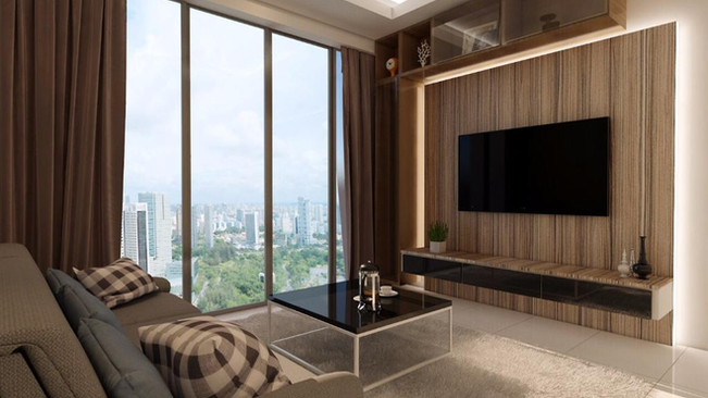 Living Room Design with TV Console and L box ceiling