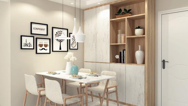 Dining area design with custom carpentry shelving