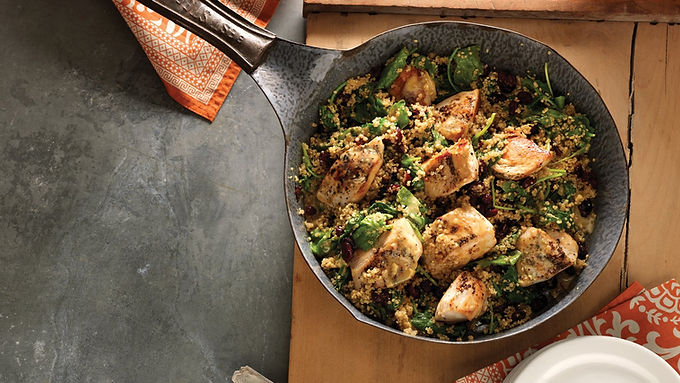 Dijon Chicken and Quinoa Skillet With Baby Kale and Cranberries
