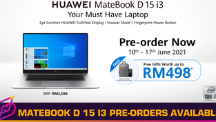 HUAWEI MateBook D15 i3 Now Up for Pre-Order