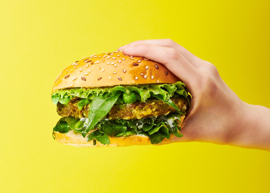 lentil, pea & curry leaf plant based burger patty by Cultiv.Ate