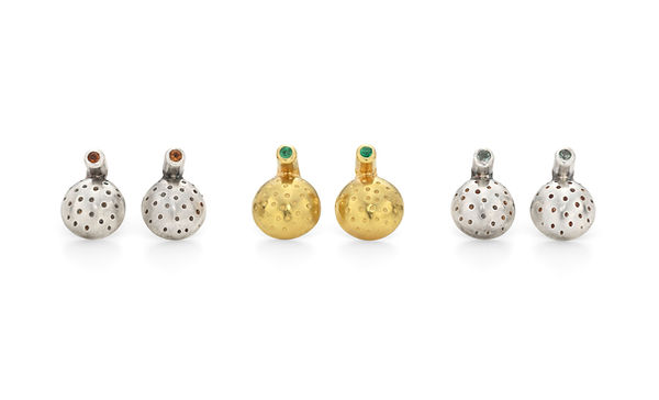 Half Orb Dotty Stud Earrings