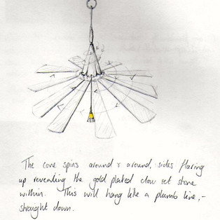 Final sketch for Spinning Lily Pod necklace.