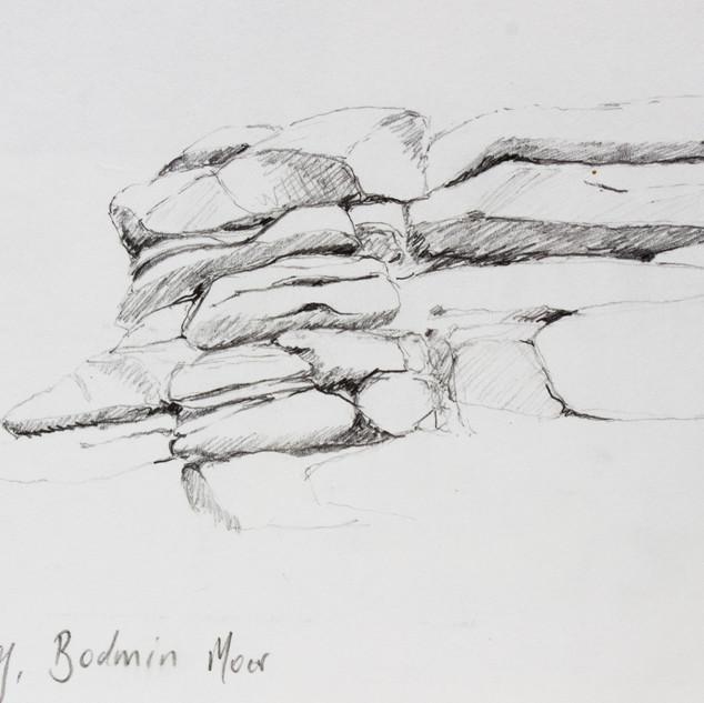 Sketch book drawing of Moorland rocks.