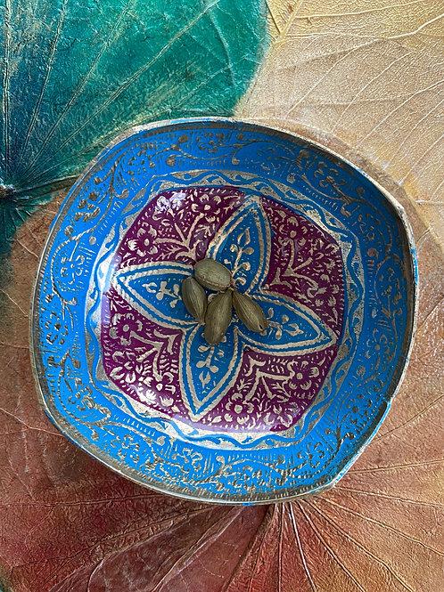 ブラス製絵付け小皿(ブルー)