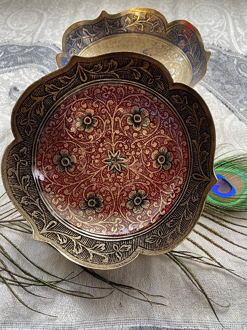 ブラス製絵皿M(レッド)
