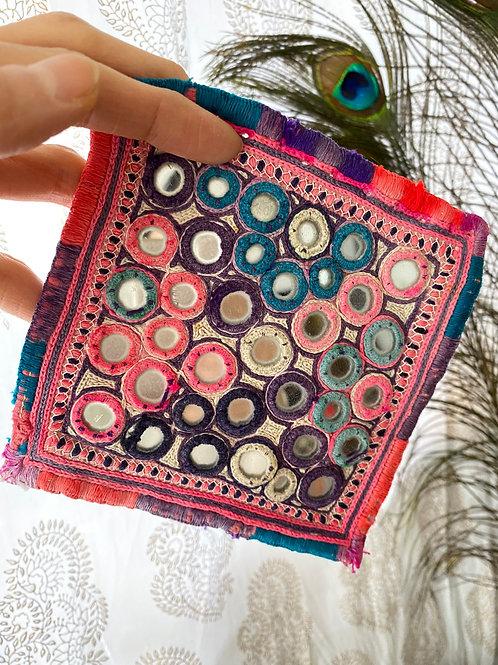 ミラーワーク刺繍コースター(C)