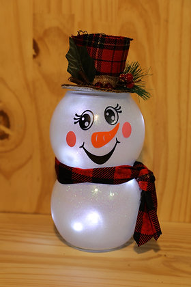 Lighted Snowman  black/red  Plaid  hat