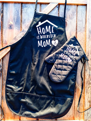 Home is wherever mom is apron & matching oven mitten